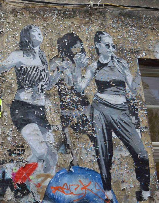 photo of a paste-ups of dancing girls by SOBR