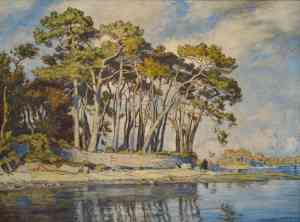 Pine Trees by River Odet by Andre Dauchez
