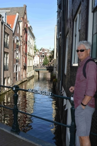 Doug by the canal in Amsterdam