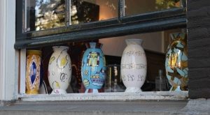 Vases on window sill