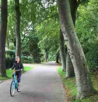 Sara biking in Naarden